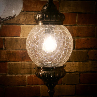 Hanging Clear Crackle Glass Lamp
