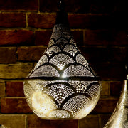 Hand-Puntured Nickle-Plated Brass Hanging Lamp