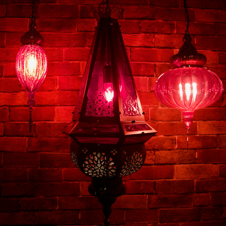 Casablanca Nights Collection Hanging Red & Brass Fixture