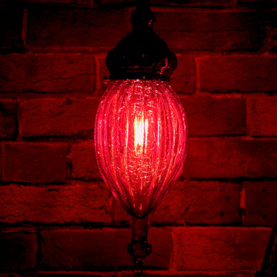 Casablanca Nights Collection, Hanging Red Blown Glass Globe