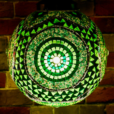 Hanging Mosaic Lamp in Lush Greens, Medium