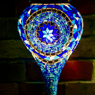 Hanging Mosaic Globe in Blues, Droplet Shape