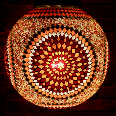 Hanging Mosaic Globe in Orange & Red, Large