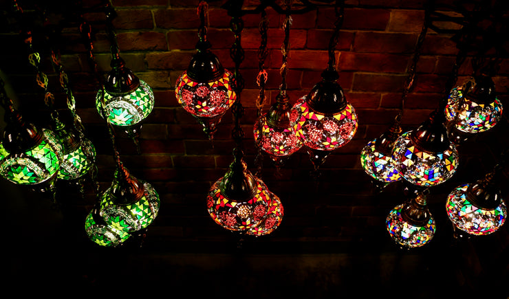 Five Globe Mosaic Chandelier in Multiple Colors