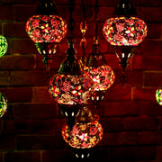 Five Globe Mosaic Chandelier in Orange & Red