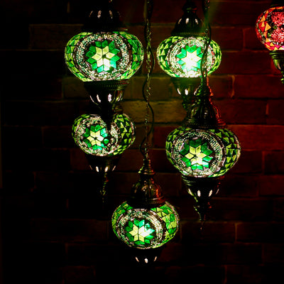 Five Globe Mosaic Chandelier in Shades of Green