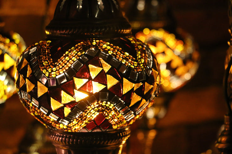 Nine Globe Mosaic Chandelier in Amber Tones