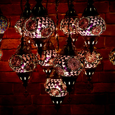Nine Globe Mosaic Chandelier in Natural Purple Tones