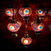 Nine Globe Mosaic Chandelier in Bright Colors
