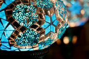 Nine Globe Mosaic Chandelier in Aqua Blue