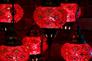Seven Globe Mosaic Chandelier in Vibrant Red