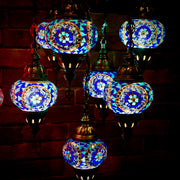 Seven Globe Mosaic Chandelier in Shades of Blue