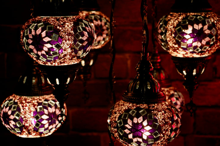 Seven Globe Mosaic Chandelier in Neutral Purple