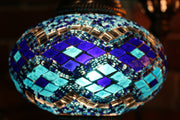 Mosaic Table Lamp in Blues with Argyle Pattern