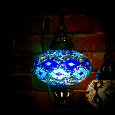Mosaic Table Lamp in Blues with Argyle Pattern, Swan Neck