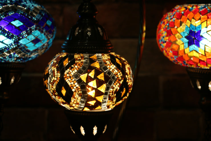 Mosaic Table Lamp in Amber with Diamond Pattern, Swan Neck