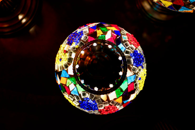 Mosaic Table Lamp in MultiColor Flower