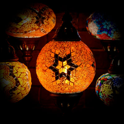 Mosaic Table Lamp in Orange Star