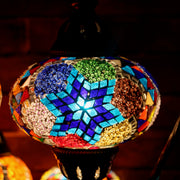 Mosaic Table Lamp in MultiColor Blue Star, Swan Neck