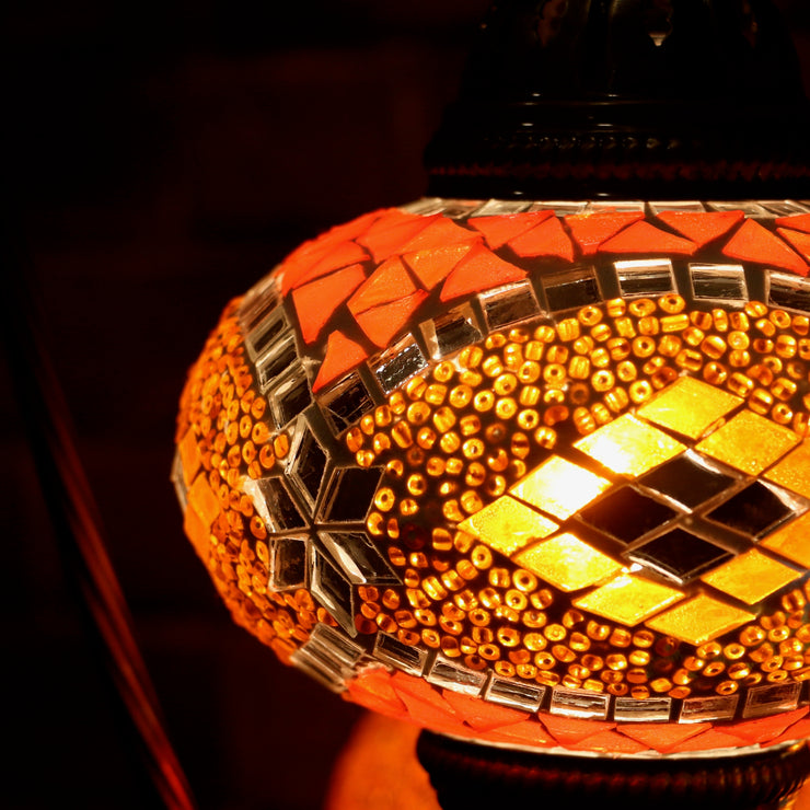 Mosaic Table Lamp in Orange & Mirror-Star, Swan Neck