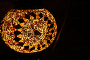 Mosaic Table Lamp in Amber, Swan Neck