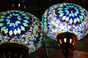 Mosaic Table Lamp in Two Blues, Swan Neck