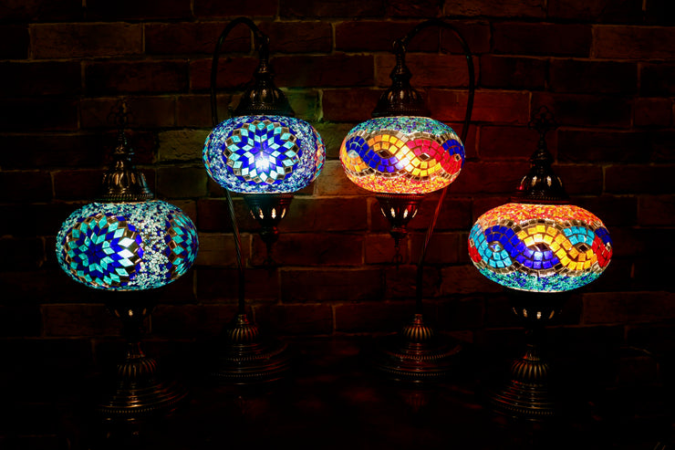 Mosaic Table Lamp with Orange, Red, and Two Blues