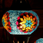 Mosaic Table Lamp in Blue & Multicolors, Swan Neck