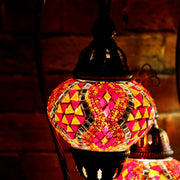 Mosaic Table Lamp in Red & Orange, Swan Neck