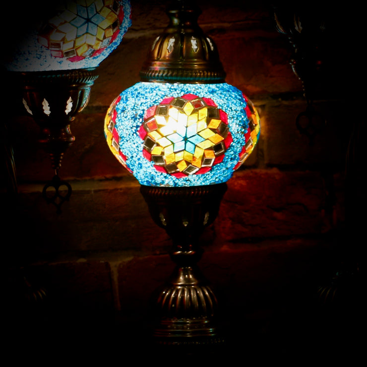 Mosaic Table Lamp in Blue & Multicolors