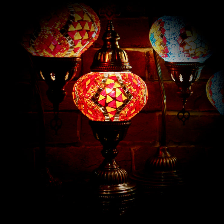 Mosaic Table Lamp in Red & Orange
