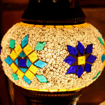 Mosaic Table Lamp in White with Accents, Swan Neck