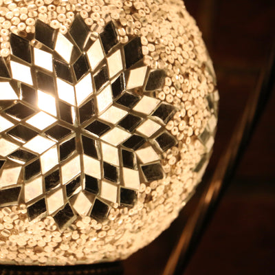 Mosaic Table Lamp in White Sunburst
