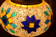Mosaic Table Lamp in White with Accents