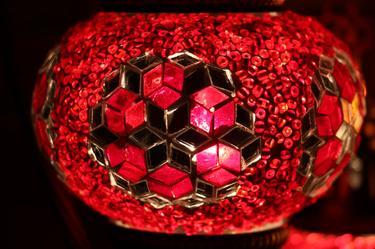 Mosaic Table Lamp in Red, Swan Neck