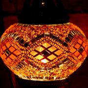 Mosaic Table Lamp in Bright Orange, Swan Neck
