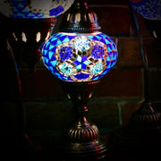 Mosaic Table Lamp in Shades of Blue, Flower Pattern