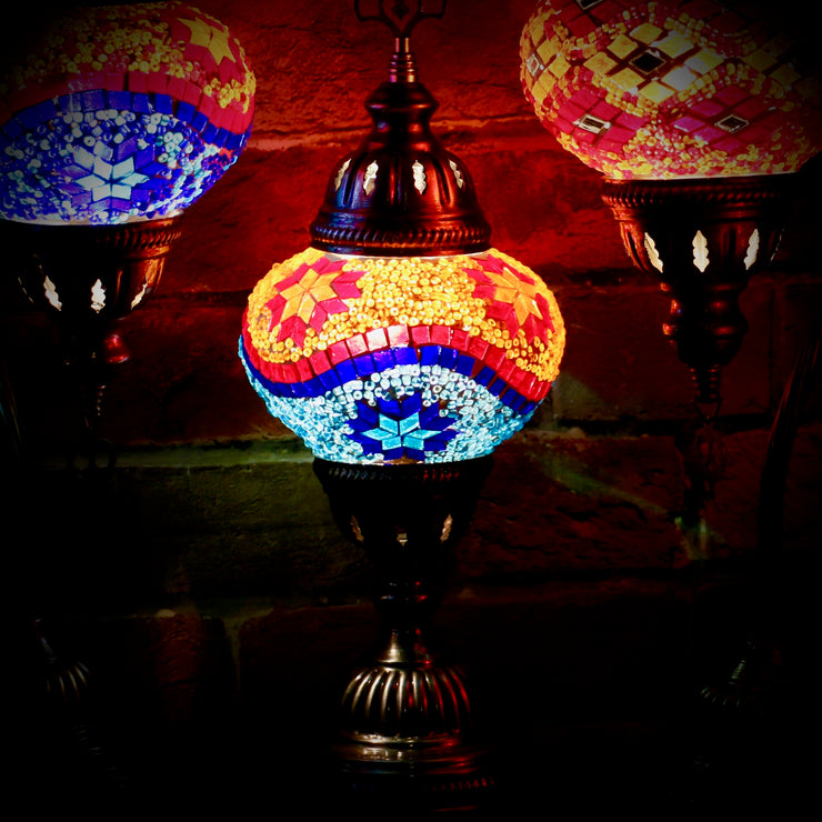 Mosaic Table Lamp in Orange, Red & Two Blues