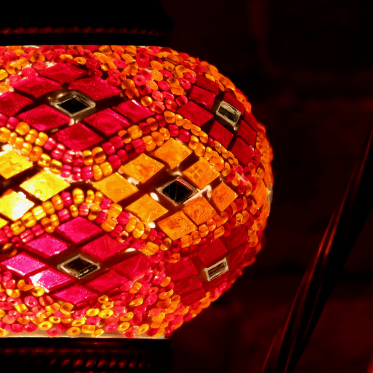 Mosaic Table Lamp in Orange & Red, Swan Neck