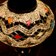 Mosaic Table Lamp in White with Flecks of Color, Swan Neck