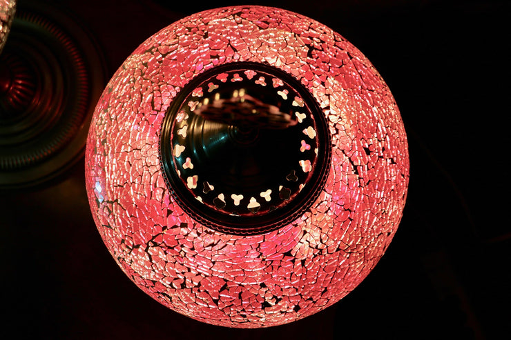 Rose Pink Crackle Glass Table Lamps,  ITEM: A