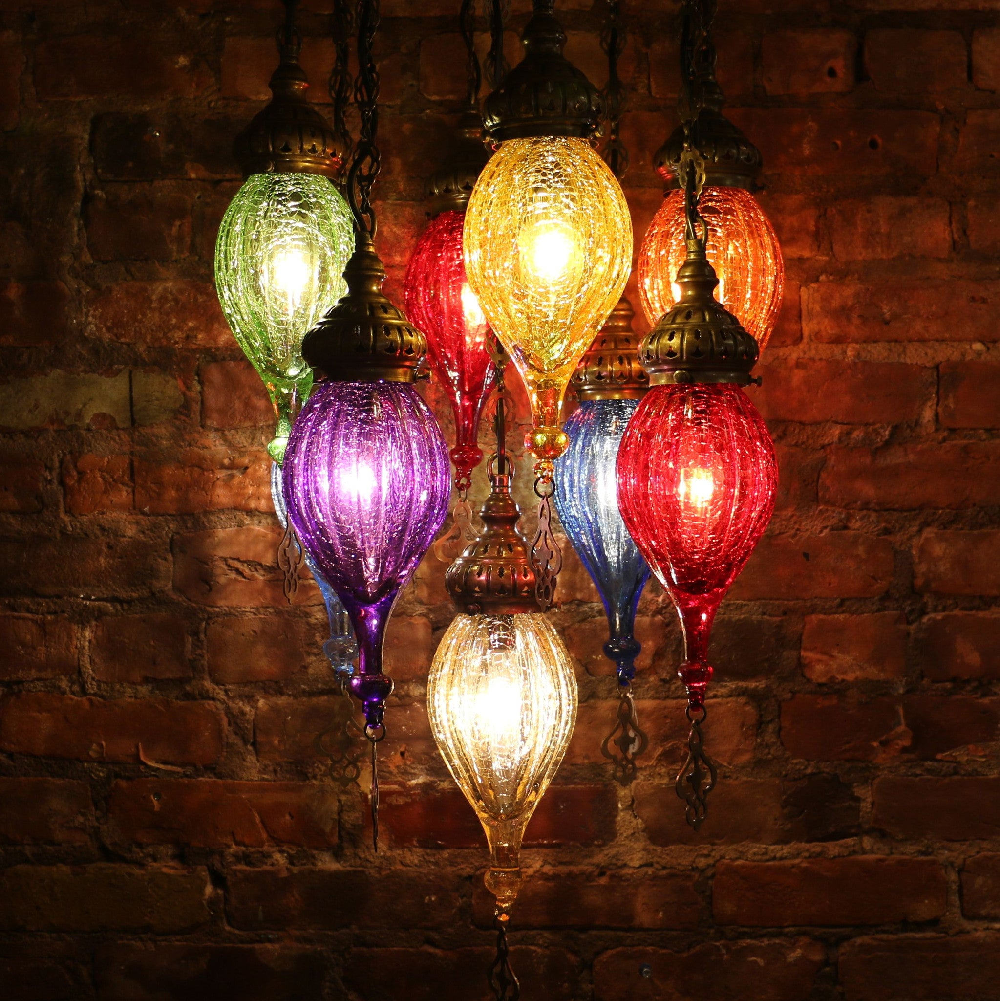 Chandelier of color in blown glass and brass mosaic lamps nyc chandelier of color in blown glass and brass aloadofball Image collections