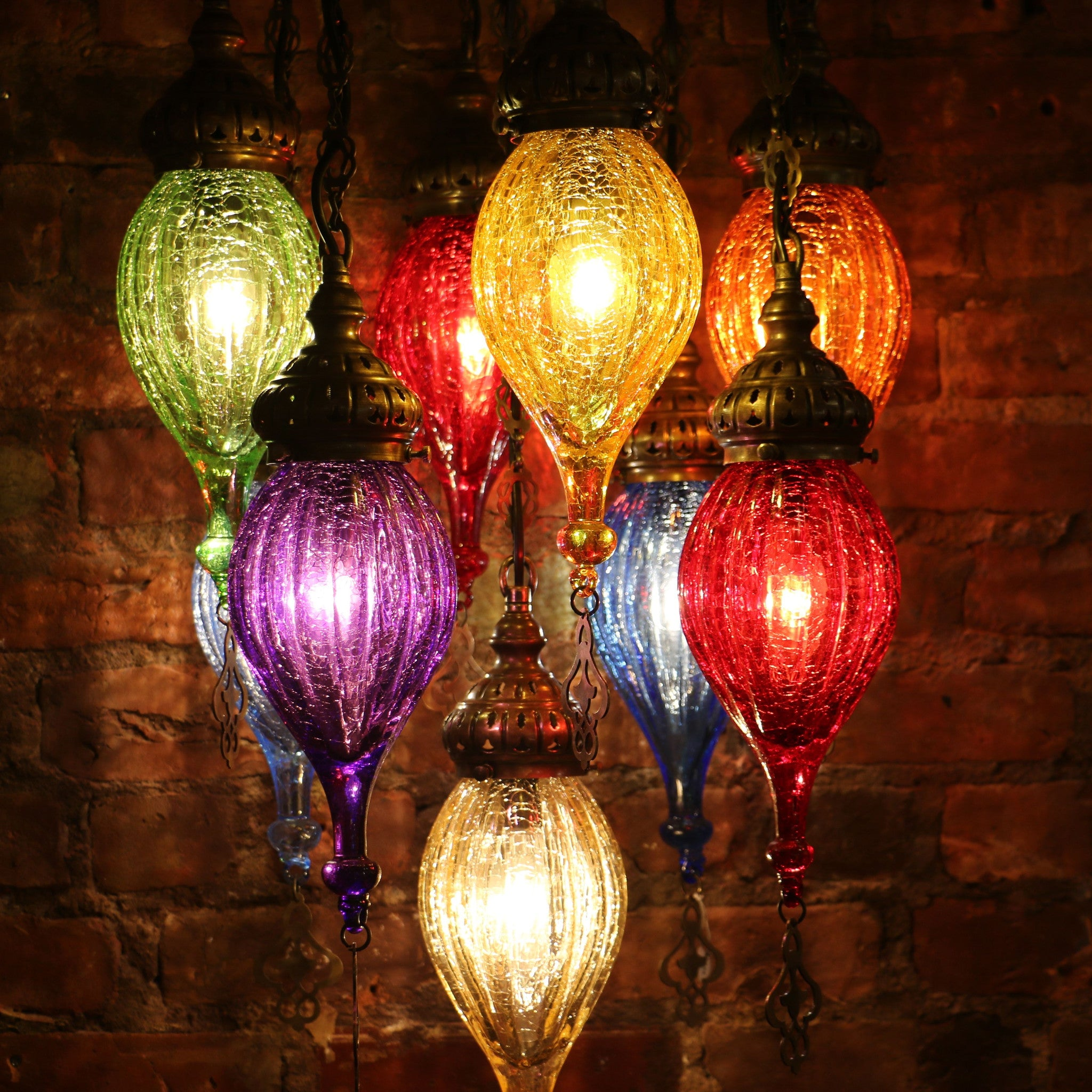 Charming Chandelier Of Color In Blown Glass And Brass