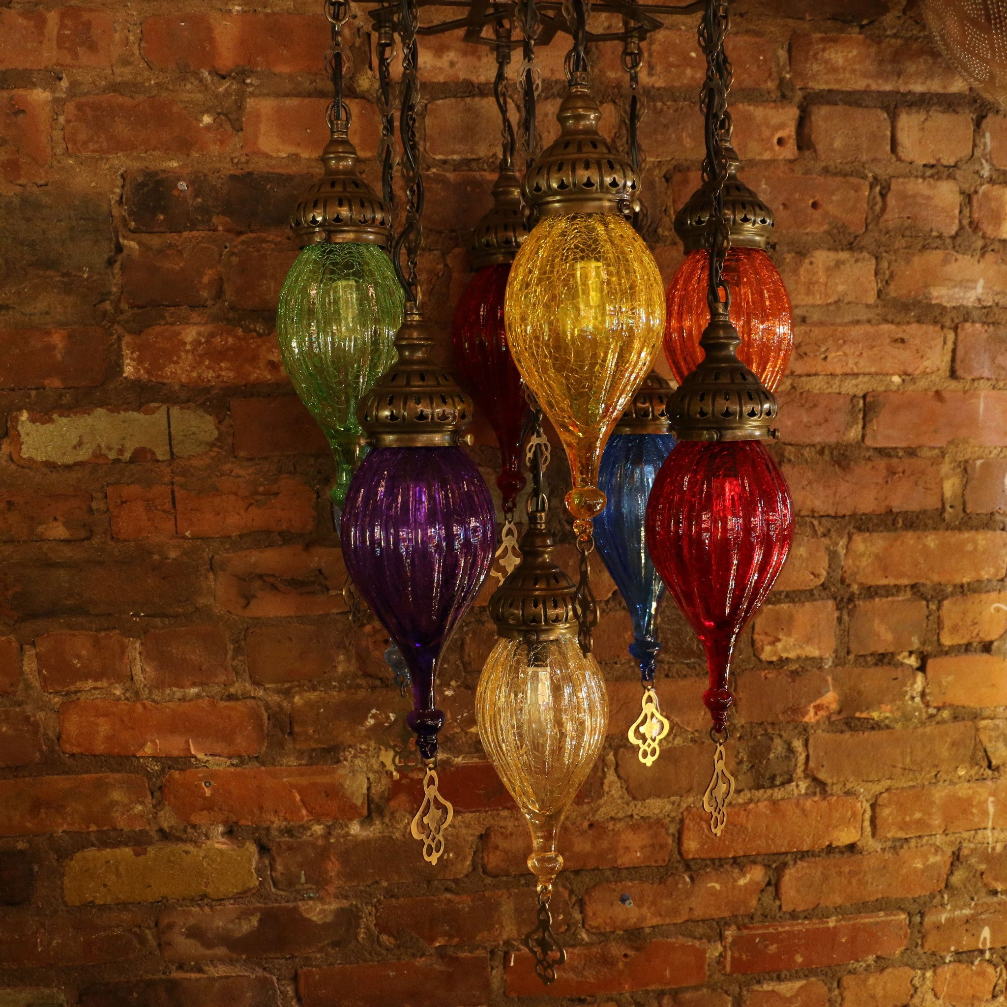 Our Mosaic Lamps are Handmade of Colored Glass and Finished Brass