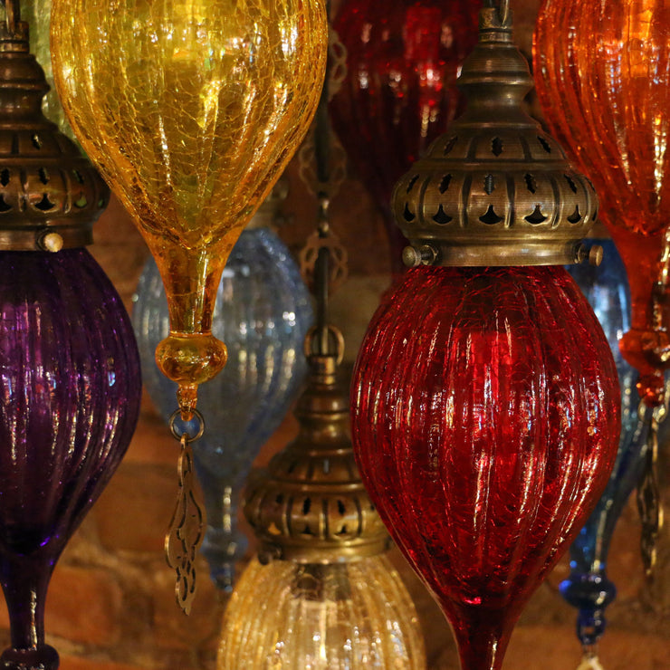 Chandelier of Color in Blown Glass and Brass