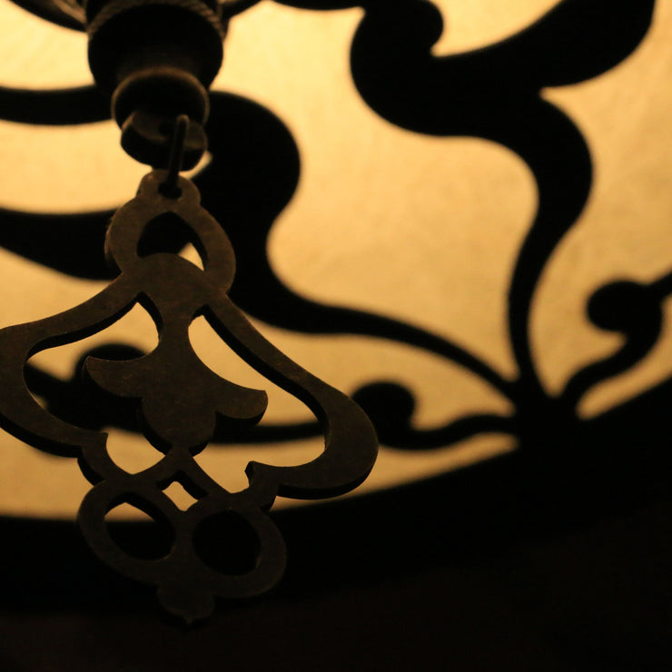 Hanging Baroque-Style Lamp in Brass, Small