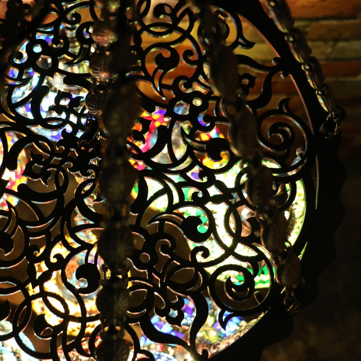Nine Globe Mosaic Chandelier in Multiple Colored Globes - CUSTOM COLORS AVAILABLE