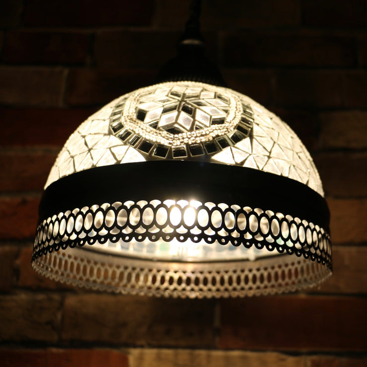 Hanging Mosaic Dome Lamp in White, Open Bottom