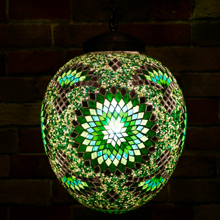 "Hanging Mosaic ""Egg"" Lamp in Green & Turquoise"