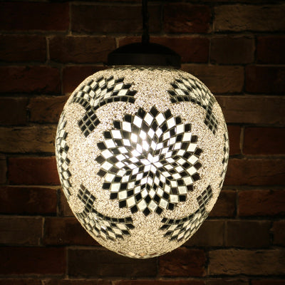 "Hanging Mosaic ""Egg"" Lamp in White"